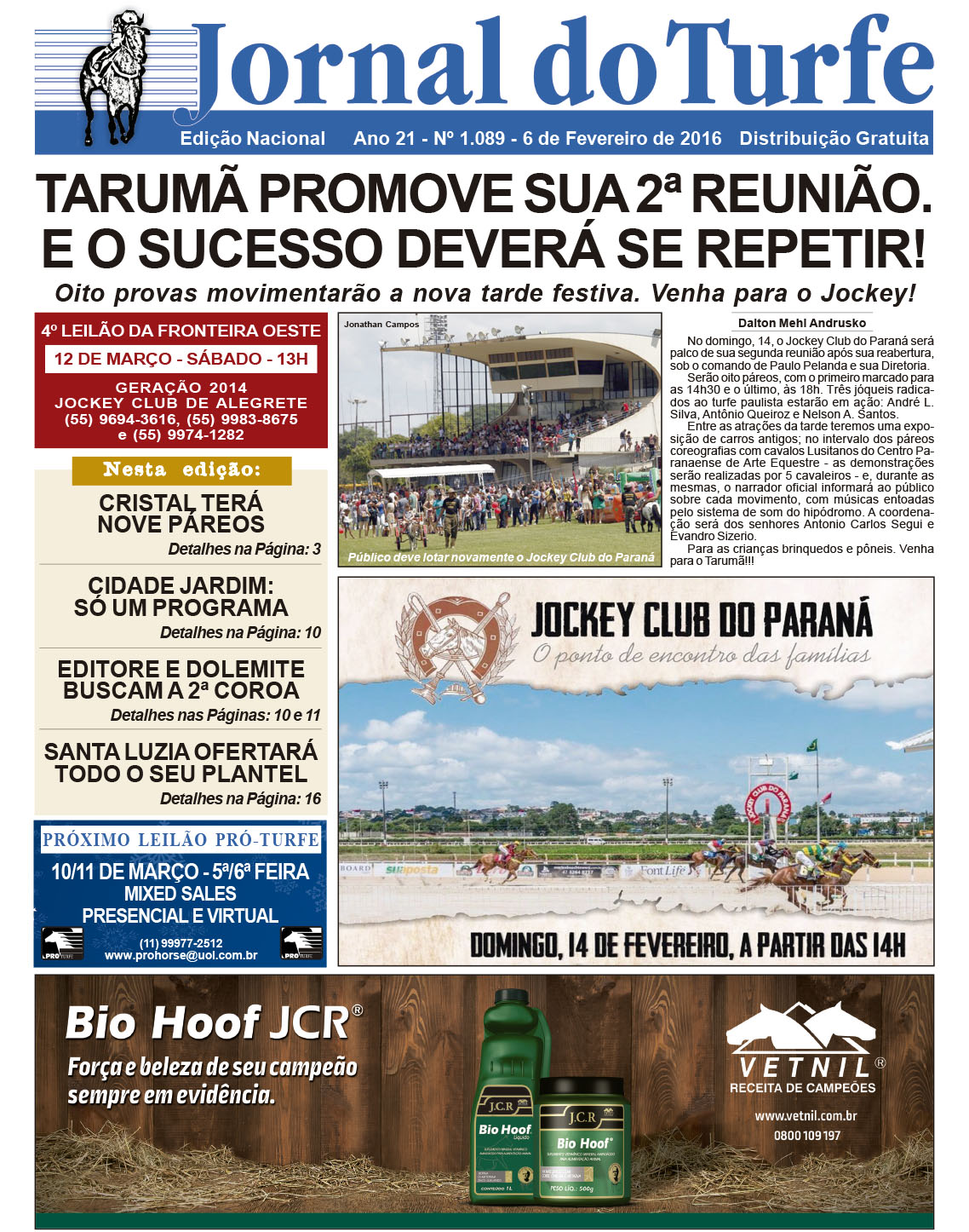Jockey Club do PR é destaque no Jornal do Turfe